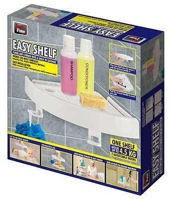 3 X Quick Fix Corner Snap Shelf Grip Up to 4kg Easy wall Bathroom As Seen on TV!