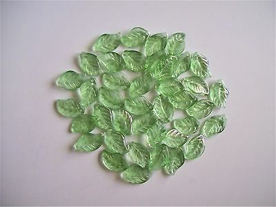 Spacer Beads - Light Green Large Glass Leaf.   Pk 20 - 18mm x 12mm