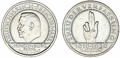 5 REICHSMARK GERMANY/5 MARCOS ALEMANIA. Ag. WEIMAR CONSTITUTION.1929 A. XF+/EBC+