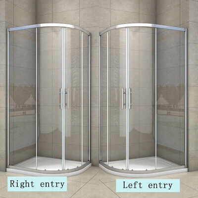 Aica shower enclosure and tray quadrant corner entry cubicle 6mm glass door
