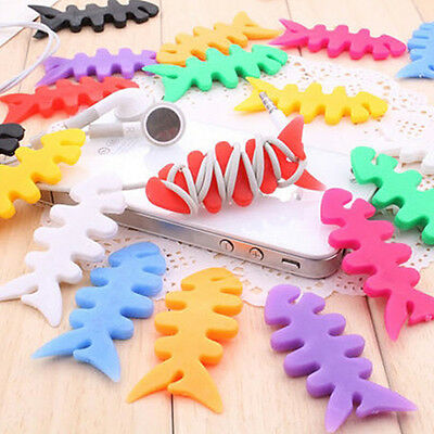 New Silicone Fish Bone Headphone Cord Wire Cable Organizer Holder Wraps Welcome
