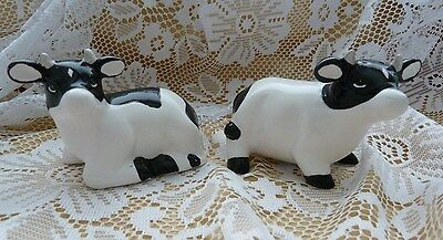 Cow Salt And Pepper Shakers Shaker Black White Novelty - No Box - Cute Dairy New