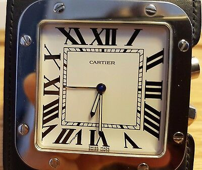 100% authentic Cartier Santos Table Travel clock silver and black, genuine 100%