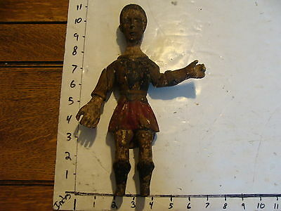 very early Painted FOLK ART MAN, repaired, SO COOL AND EARLY wood carved