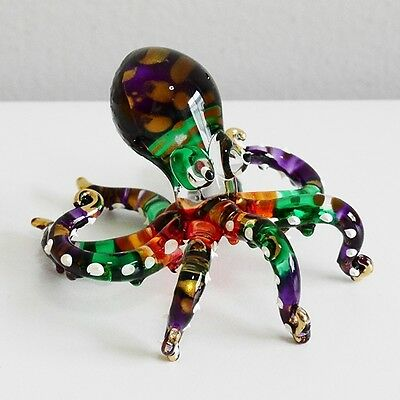Octopus Animal Figurine Hand Paint Blown Glass Home Decorate Collectible Gift