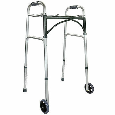 Aluminium Walker Height Adjustable Walking Frame Zimmer 2 Wheels Folding Light