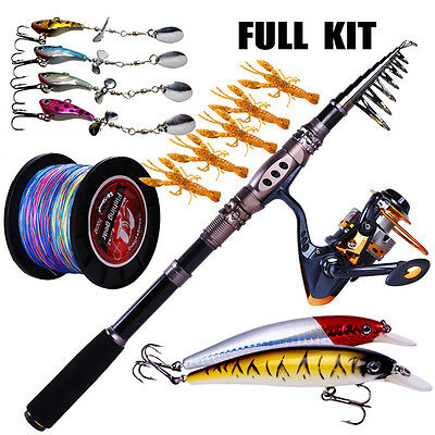 Telescopic Fishing Rod with Reel Combos Set for Saltwater Freshwater Tackle Kits