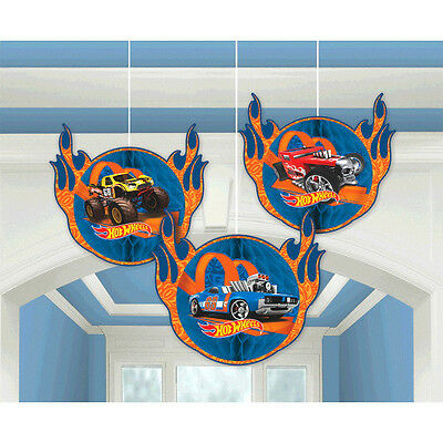 Hot Wheels Party Supplies Decorations HONEYCOMB DECORATIONS Pack Of 3
