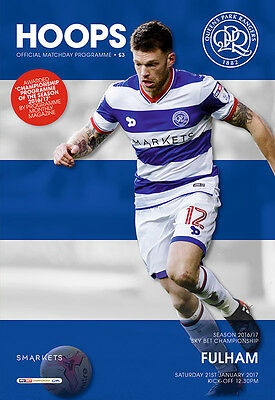 Qpr V Fulham -Official Programme-21St January 2017