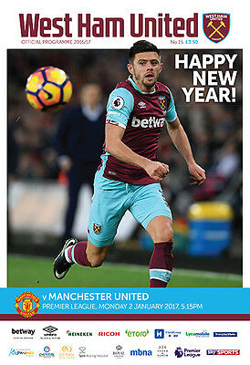 West Ham United V Manchester United- Official Programme- 2Nd January 2017