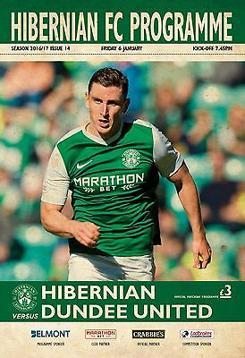 Hibernian V Dundee United- Official Programme-Championship- 6Th January 2017