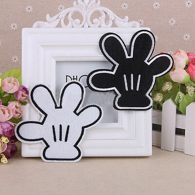 2pc Embroidered Sew Iron on Patch Cloth Badge Cartoon Hand Motif Fabric Applique