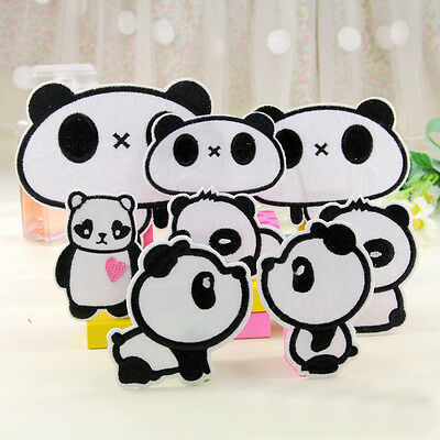 8pcs Embroidered Sew Iron on Patch Badge Cartoon Panda Animal Cloth Applique DIY