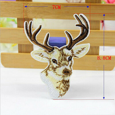 1Pc Embroidered Sew Iron on Patch Badge Bag Elk Motif Cloth Applique DIY Fabric