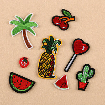 1pc Embroidered Sew Iron on Patch Badge Cloth Fruit Cherry Bag Fabric Applique