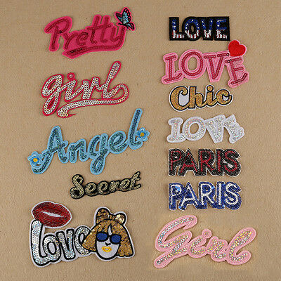 1 Pc Embroidered Sew Iron on Patch Badge Sequin Angel Love Heart Craft Applique