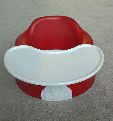 Red Bumbo Baby Seat with Tray Weaning Aid