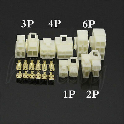 10 Sets 1/2/3/4/6/8 WAY PIN 6.3MM ELECTRICAL MULTI PLUG CONNECTOR TERMINAL BLOCK
