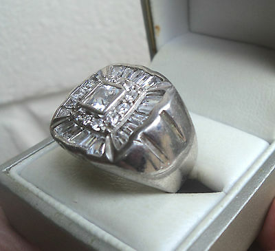 LARGE Sterling Silver Cubic Zirconia BLING Ring import mark 2001 -  size R / S