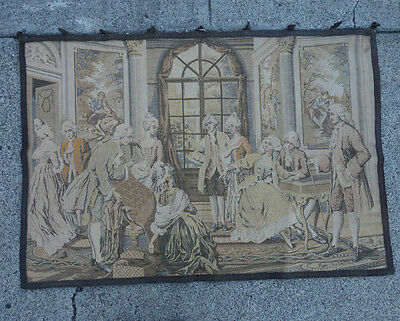 Vintage Tapestry Victorian Salon scene French Vintage marked France wall hanging