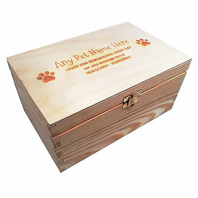 Medium Memorial Remembrance Wooden Pet Urn Cremation Ashes Dog Pet Personalised