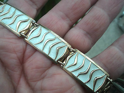 Norwegian Silver & White Enamel Wave Bracelet - David Andersen Norway