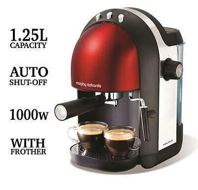 Morphy Richards Accents Espresso Coffee Machine Coffee Maker 172003, Red