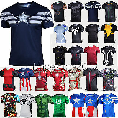 Mens Superhero Marvel Sport Base Layer Fitness GYM T-Shirts Casual Coaplay Tops