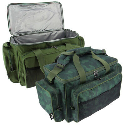 Carp Coarse Fishing Tackle Carryall Bag With Insulated Lining In Camo And Green
