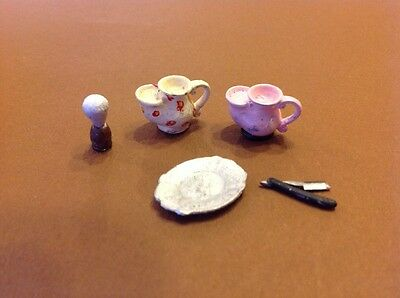 Dolls house miniature gentlemens shaving accessories mixed lot