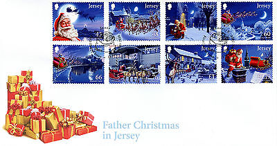 Jersey 2016 FDC Father Christmas in Jersey 8v Set Cover Santa Claus Stamps
