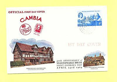 Gambia first day cover, #192, Shakespeare, 1964