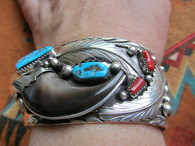 Signed Native American Navajo 925 Silver Turquoise Coral   Claw Cuff Bracelet