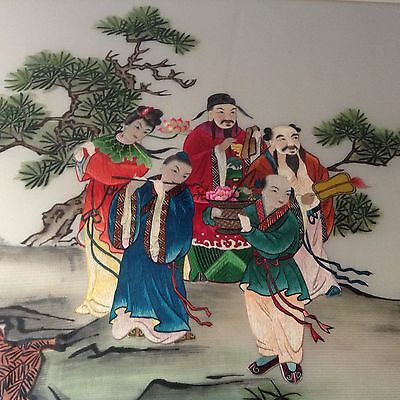 8 Immortals Chinese Silk Embroidery Framed Picture Embroidered