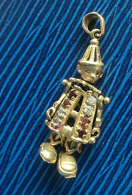 Vintage  9ct Gold Articulated Clown Pendant with stones c.1960/70s
