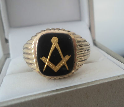 Vintage 9ct Yellow Gold & Black Onyx Masonic Ring h/m 1982 - NOT PLATED - size S