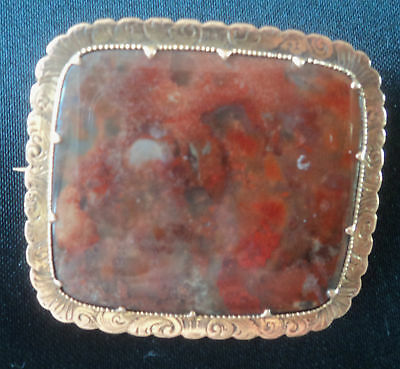 Vintage Attractive Scottish 9ct Rose Gold Agate Brooch c.1900