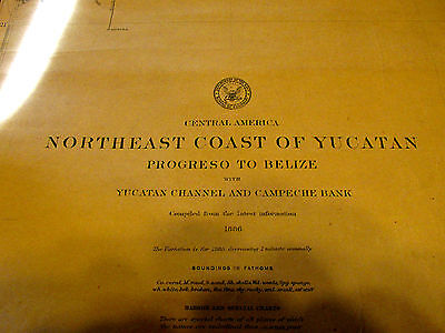 Antique Navigation Chart NorthEast Coast of Yucatan 1886 U.S. Navy No. 966