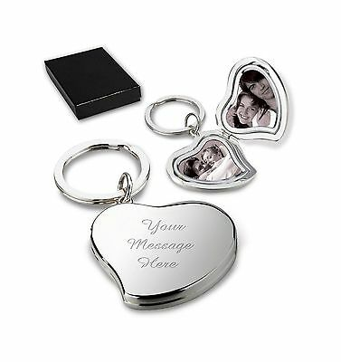 Personalised Heart Locket Double Photo Keyring/Keychain CAN BE ENGRAVED