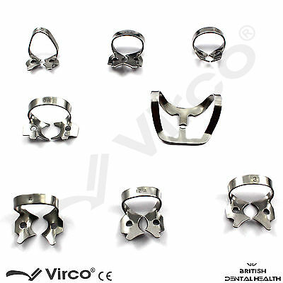 Set 8 Basic Dental Restorative Endodontic Assorted Rubber Dam Clamps RRP £24