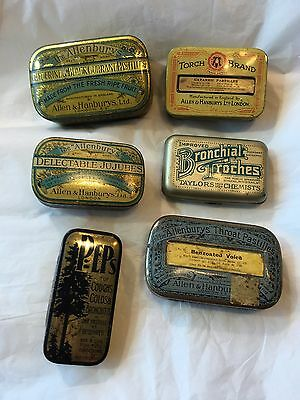 Vintage Collection Of Advertising Chemist Pharmacy Tins Pastilles Peps Allenbury
