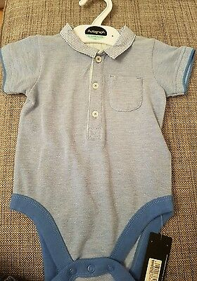 Marks and Spencer baby boys 9-12 months blue collared polo shirt vest style BNWT