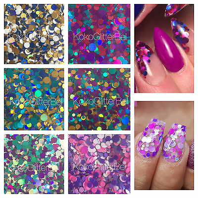 Holographic Glitter Mix Dots | 1 TSP | For Acrylic Nails Gel | Solvent Resistant