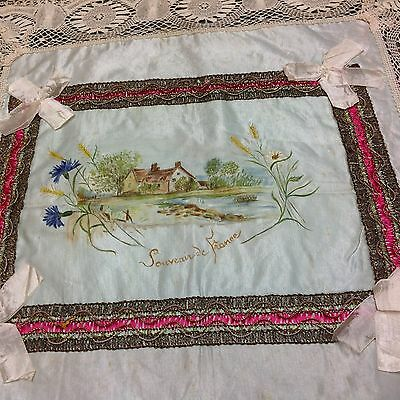 Antique WW1 Souvenir De France Painted Silk & Lace Table / Cushion Cover Cloth