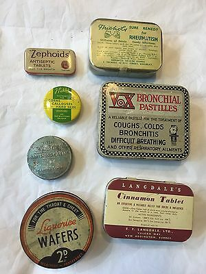 Vintage Collection Of Advertising Chemist Pharmacy Tins Pastilles Ointments