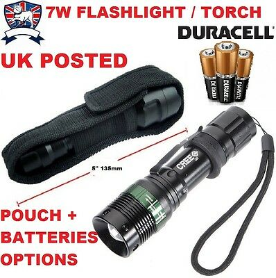 7W Extra Bright Led Flashlight/torch Uk Seller Army Police Security Pouch Option