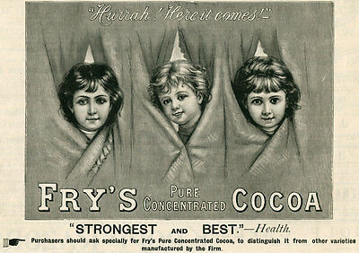 1895 Ad Print Fry's Pure Concentrated Cocoa Children Peeking Through Curtain