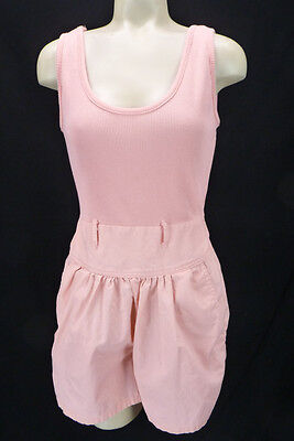 Vtg 80s Peach Pink Stretch Top Shorts Romper Onesie Fit & Flare Balloon Hips S