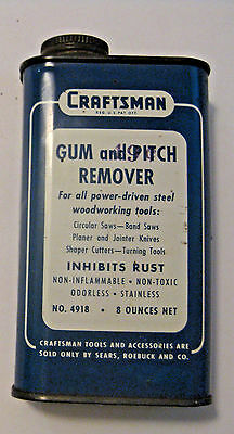 VINTAGE SEARS ROEBUCK & Co. CRAFTSMAN GUM & PITCH REMOVER ADVERTISING OIL CAN