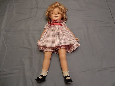 """1930s Shirley Temple Marked """"Stand Up & Cheer"""" Composition Doll w/Stand"""